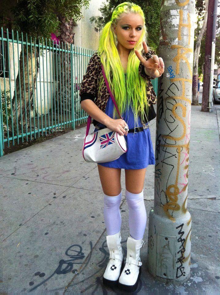 Kerli...her haircolor looks like Manic Panic Electric Banana and Electric Lizard mixed