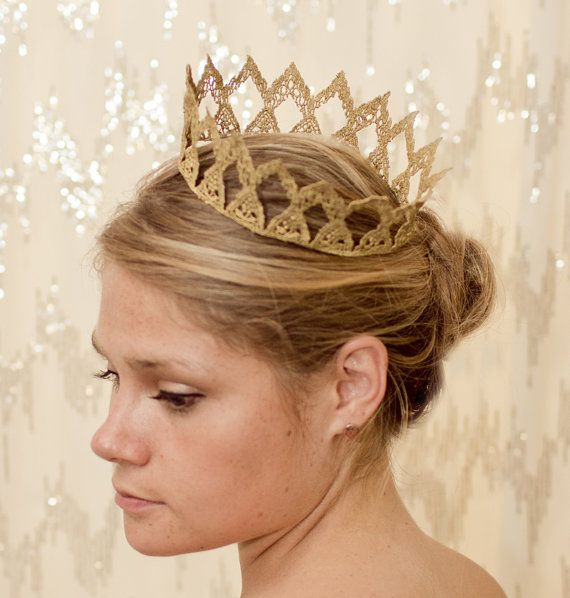 Looks like the Princess Bride crown!  Cosplay?  Gold Maiden Fairytale Lace Crown by neesiedesigns on Etsy, 15.00