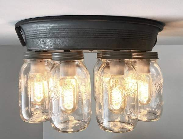 Mason Jar Ceiling Light 6 Or 8 Light With Galvanized Metal In 2020