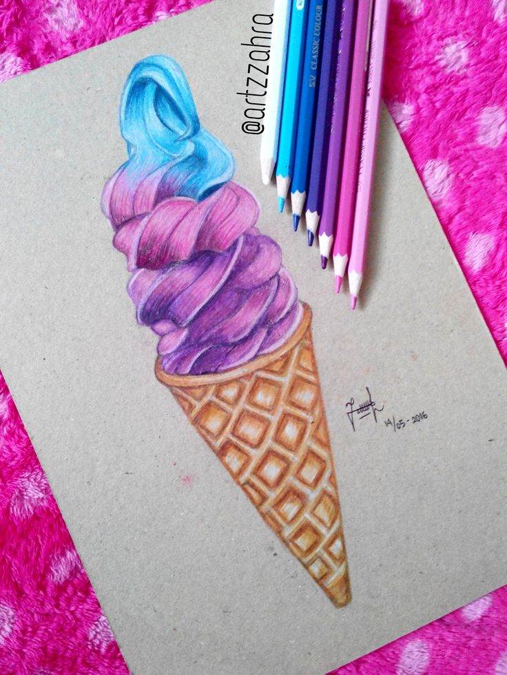 Ombre Ice Cream drawing done by me ❤️‍ Follow my instagram to see more drawings https://www.instagram.com/artzzahra/ #icecream #food #delicious #draw #drawing #ombre #summer #cold #art #artwork #cute