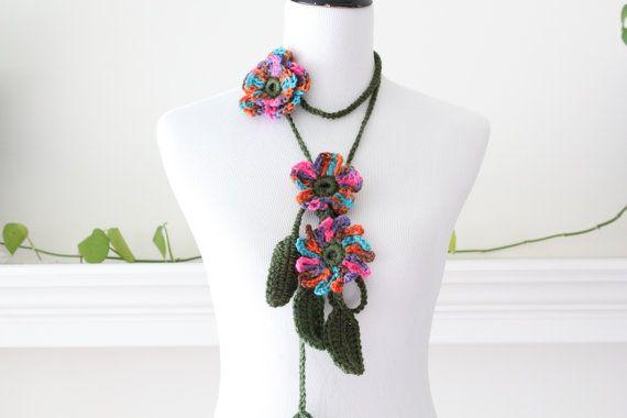 Crocheted Hotpink Turquoise Orange Flower Lariat, Necklace, Scarf, Scarflette