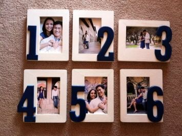 Great idea for table numbers AND to show off some of your adorable engagement photos!  Picture frames with table numbers on them!