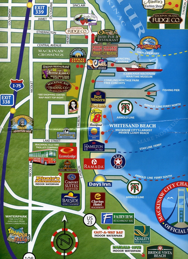 Mackinaw City Michigan Map Of Hotels With Water Parks And Surrounding Areas We