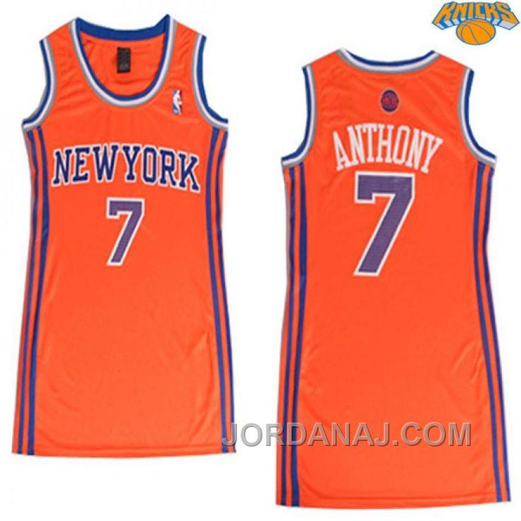 Carmelo Anthony New York Knicks #7 Women Orange Jersey
