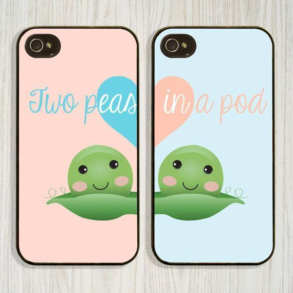 Two Peas in a Pod, Best friend, Couple, Matching case available in iPhone 4/4s 5/5s 5c and Galaxy s4, designed and created by CellShells. Cellphone accessories, Cellphone cases.