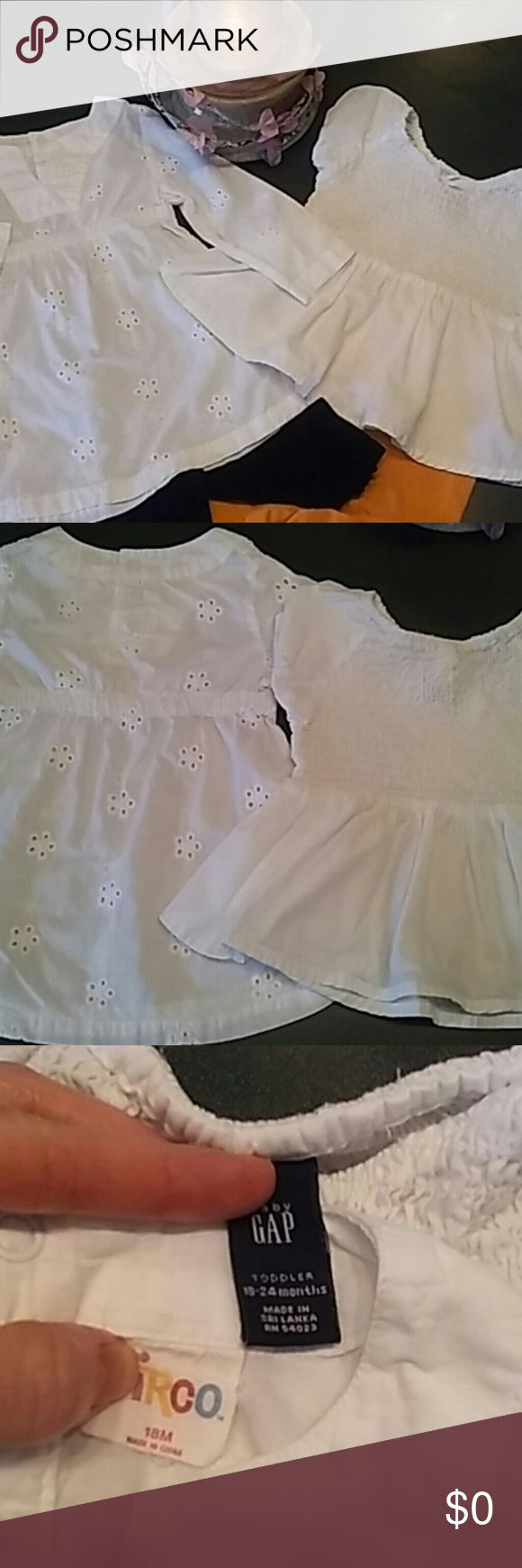 Girl's 4 pc. Cotton tops w/ Capri Leggings 18 mos Great condition! No stains or tears.  Snaps and elastic in great condition.  Tops are 100% white cotton poplin.  Capri Leggings are 95% cotton and 5% spandex.  Listing includes two coordinated outfits.  Circo Tunic empire waist eyelet top and Koala Kids Black Capri Leggings with bottom ruffles are 18 Months.  Baby Gap Short sleeve gathered top and Old Navy soft orange Capri Leggings are 18-24 months. Baby gap Matching Sets