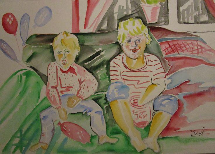 "Aqvarell  ""Barn i soffa 2"""