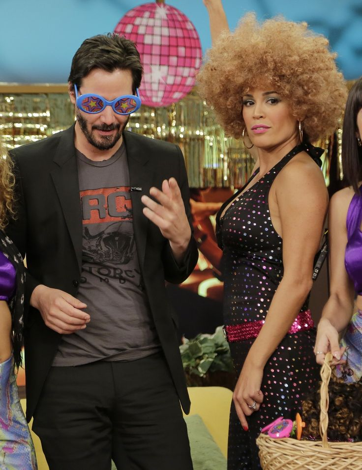 Keanu Reeves let loose during an appearance on Despierta América! in Miami on Thursday.