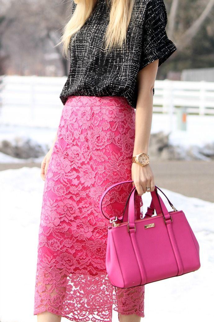 valentine's day outfit, black wedges, pink lace skirt, midi skirt, kate spade pink bag, nordstrom rack, chic outfit, girly outfit, girly, pink, marc fisher wedges, rachel parcel skirt