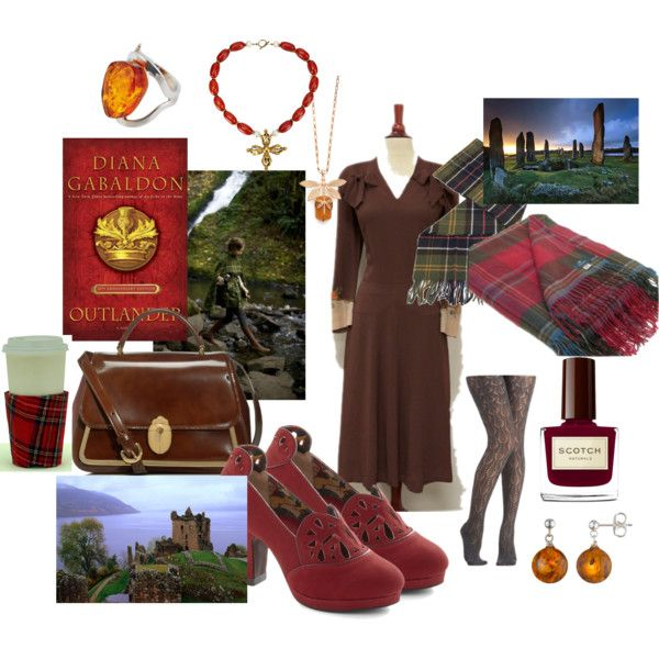 Starz Outlander Premier Party by kelyiwrite on Polyvore featuring Miss L Fire, Tory Burch, Be-Jewelled, Cobra & Bellamy, Barbour, Lonely Planet and Outlander