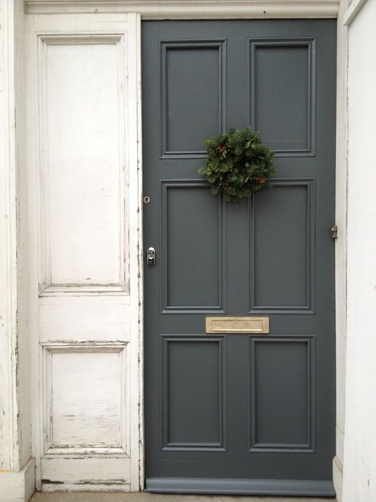 Farrow & Ball's Downpipe grey/black. Fabulous door color!