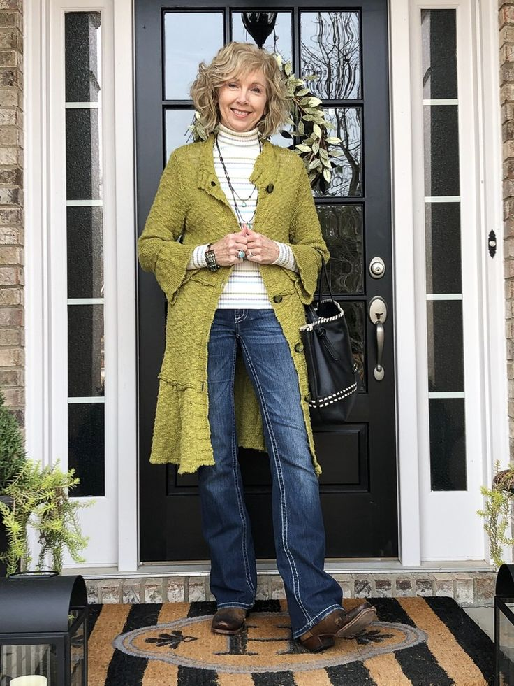 Fashion over 50: Long Sweater Cardigan and Cowboy Boots