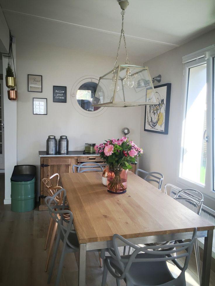 Our home! Home design atelier France industrial scandinavian brut beton diningroom lights decor house jielde kartell masters fleux