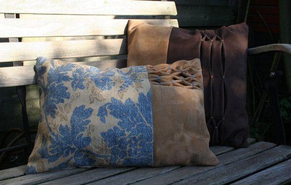 Suede/cotton cushion, suede/katoenen kussen 43x32 cm