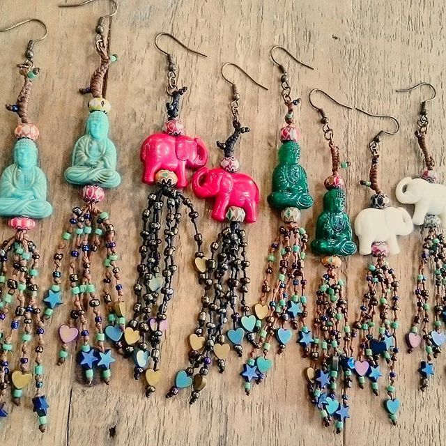 Frolic Stones...bohemian earrings,  elephant and buddha earrings