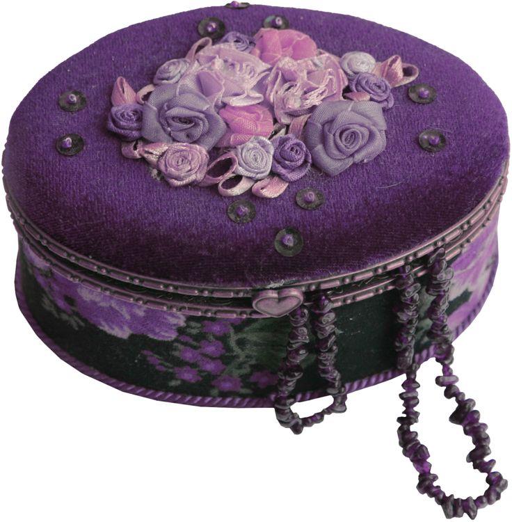 Purple rosebud floral jewellery box