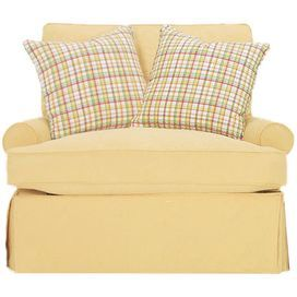 """Accent chair with kiln-dried wood frame and yellow upholstery.     Product: Chair Construction Material: Kiln-dried wood, foam and linenColor: Yellow    Features: Accent pillows included Dimensions: 37"""" H x 34"""" W x 35"""" D"""