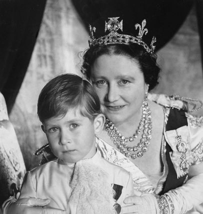 Prince Charles with the Queen Mother on the occasion of the coronation of Queen Elizabeth II