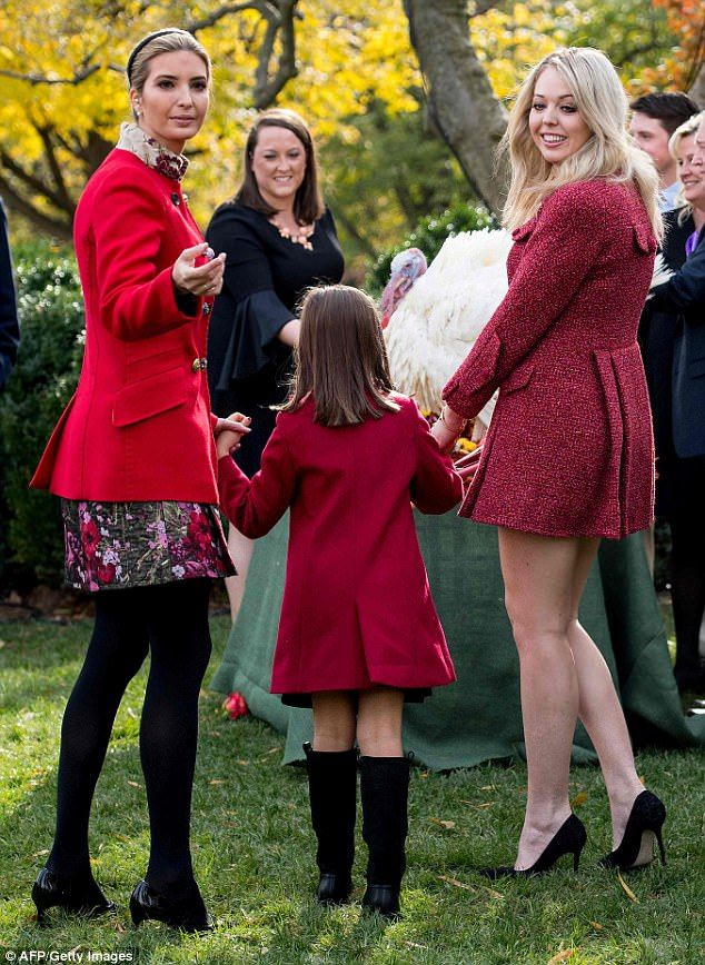647030137 Tiffany bared her legs in a short dress that was completely covered ...Nov  21 2017 Ivanka, nylons, bare legs, Trump half sisters