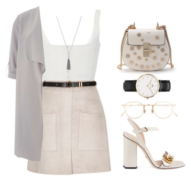 @lawrence by melanie-pacheco on Polyvore featuring moda, Dorothy Perkins, River Island, Gucci, WithChic, Daniel Wellington, Vince Camuto, Eyevan 7285, fashionset and guccishoes