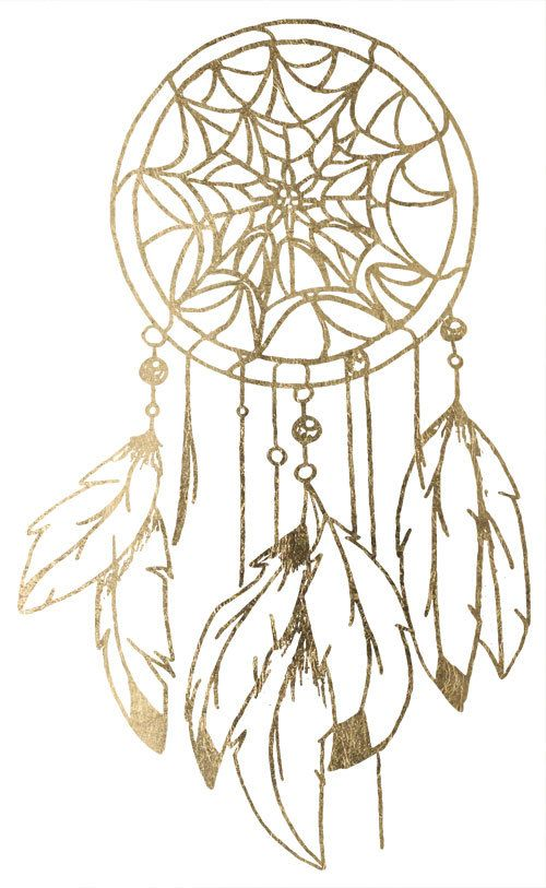 Gold Dream Catcher Tattoo Tatouage M 233 Tallique Or