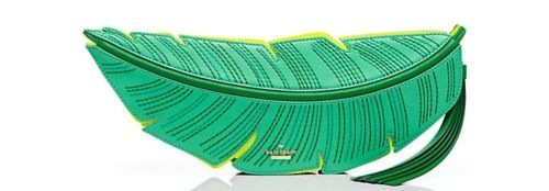 NEW-KATE-SPADE-FLIGHTS-OF-FANCY-BANANA-LEAF-CLUTCH-GREEN-PURSE-BAG-NWT