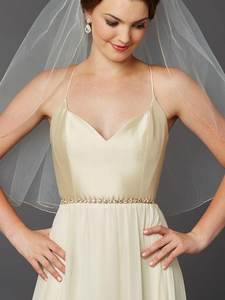 Chic Gold Plated Preciosa Crystal Bridal Sash Belt - Affordable Elegance Bridal -