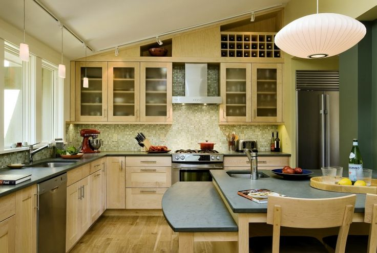 Cozy Kitchen Design Ideas Using Wonderful Slate Appliances: Track Lighting And Pendant Lights Also Kitchen Cabinets With Wine Rack Plus Slate Appliances And Mosaic Tile Backsplash Also Wood Flooring And Kitchen Island ~ parsegallery.com Furniture Inspiration