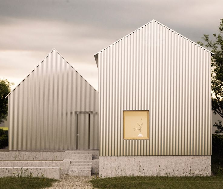 Gabled Aluminum Home with Corrugated Minimalist Facade
