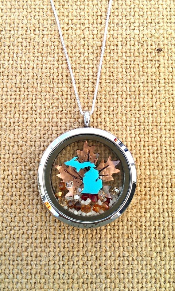 michigan fall locket by LoveSmittenDesigns on Etsy, $85.00
