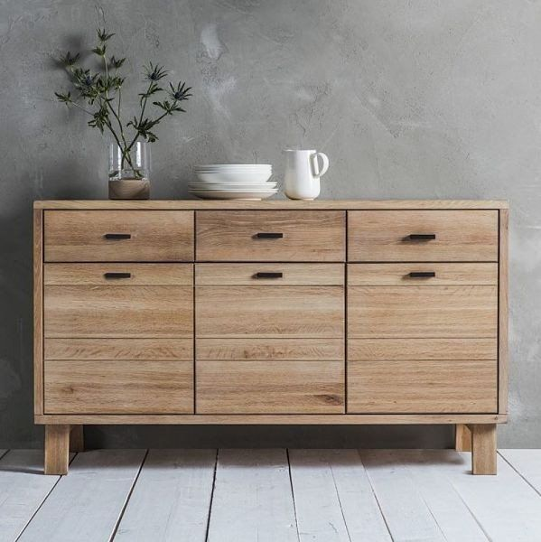 Hudson Living Kielder Oak Sideboard - The solid oak sideboard has been designed with elegance and simplicity in mind, often seen featured in Nordic countries.