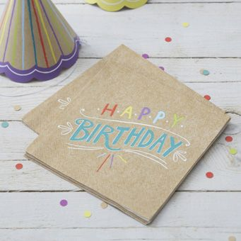 This pack of 20 3-ply 33cm x 33cm Kraft design napkins are great for a birthday celebration!