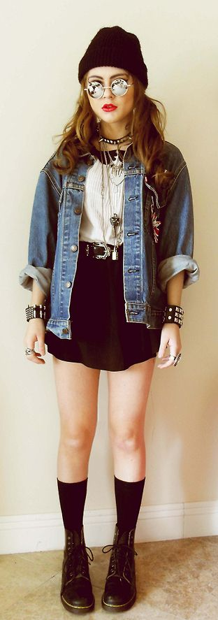 Denim jacket with tuxedo dress, bullet bracelet, mirrored lennons glasses & boots