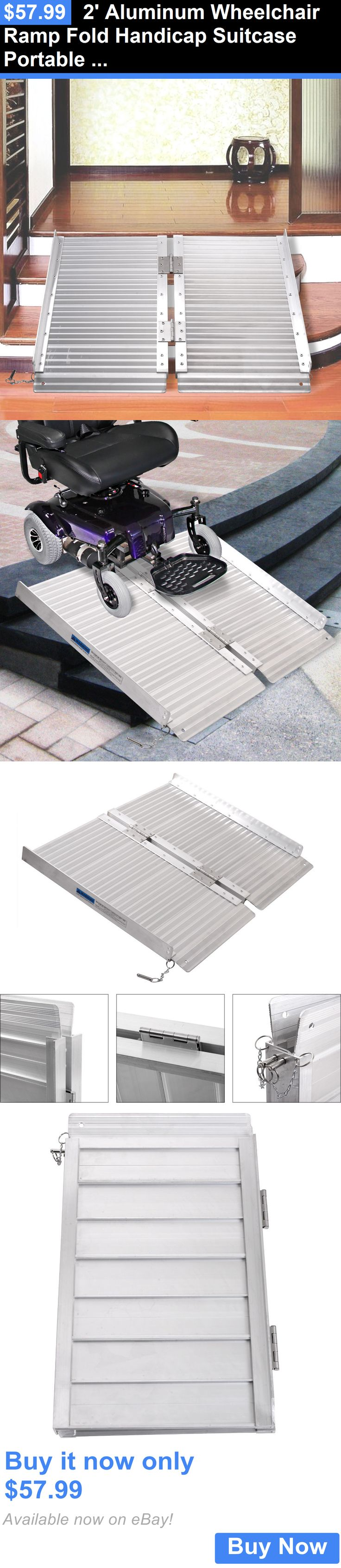Access Ramps: 2 Aluminum Wheelchair Ramp Fold Handicap Suitcase Portable Mobility Threshold BUY IT NOW ONLY: $57.99