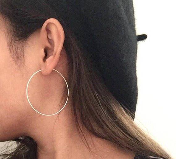 a4bd347edb296 Simple thin wire hoop earrings, 50mm hoops, 2inch, 1inch gold filled ...