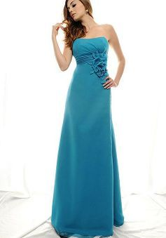 Scoop A line Chiffon Empire Floor Length With Flowers Bridesmaid Dress - Angeldress.co.uk
