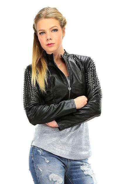 Twin Set Jeans - Giacche - Abbigliamento - Giacca in ecopelle con applicazione di borchie sulle maniche e zip di chiusura sul davanti. Foderata. - NERO - € 155.74