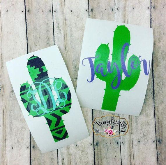 Cactus Monogram Cactus Decal Yeti Decal Car by VinylosityCo