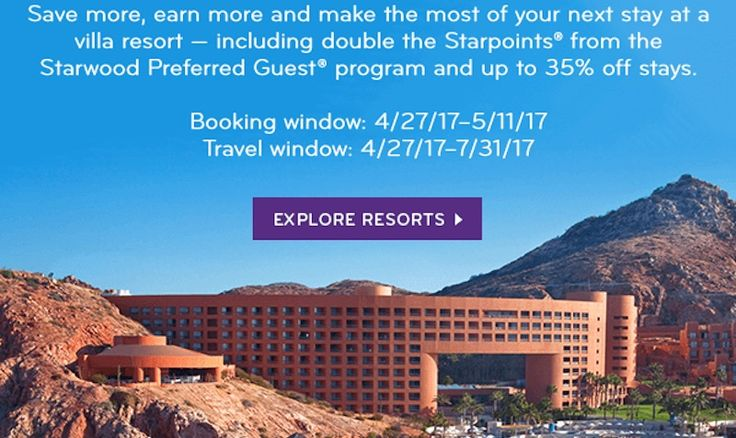 35% Off and Double Points at SPG Hotels Double Starpoints and Savings up to 35% Off! Save more, earn more and make the most of your next stay at a villa resort – including double the Starpoints from the Starwood Preferred Guest program and up to 35% off stays.