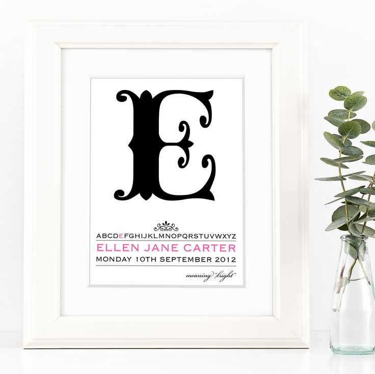 146 best personalised new baby gifts images on pinterest baby personalised initial print for baby alpha negle Gallery