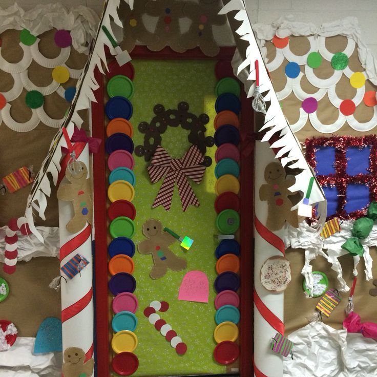 Gingerbread house! Door decorating contest! First Grade!