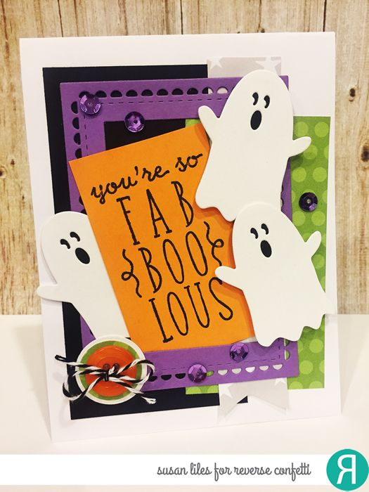 Card by Susan Liles. Reverse Confetti stamp set: Treat Yo' Self. Confetti Cuts: Halloween Bits and Lacy Scallop Frames. Other: Fright Night 6x6 paper pad. RC Cardstock: White Cloud, Grape Soda and Tangerine.