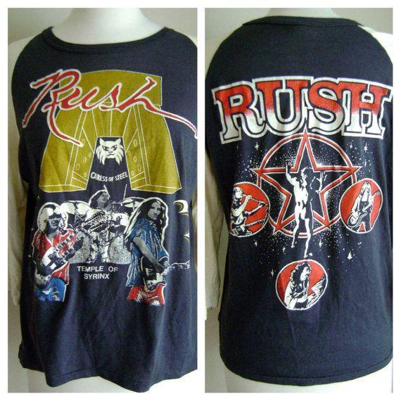1975 Caress Of Steel Rush Concert Baseball T-Shirt