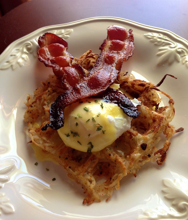 Garden Hash Browns With Poached Eggs And Bacon Recipes — Dishmaps