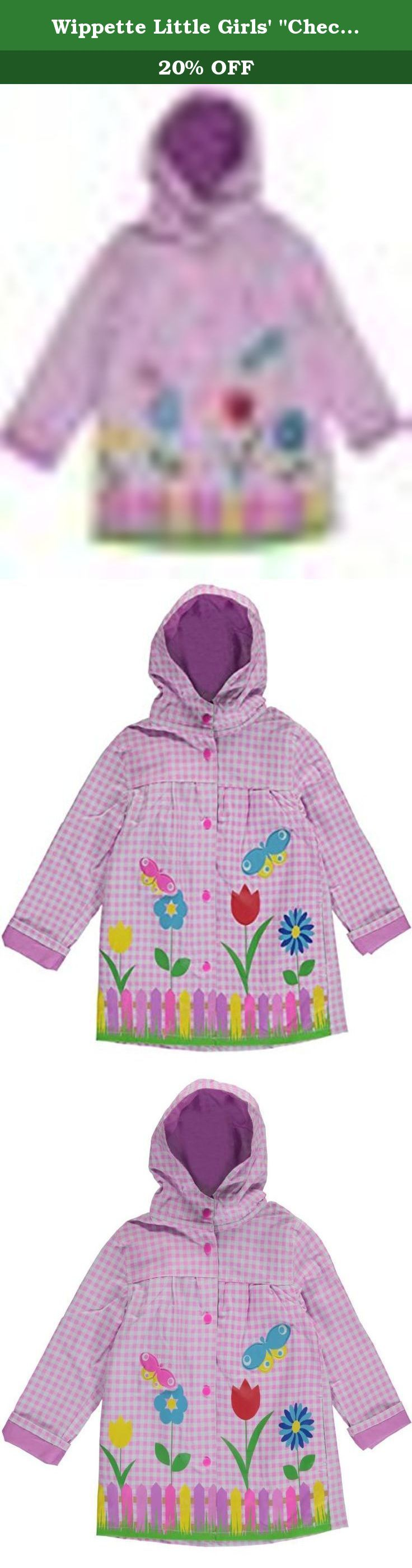 """Wippette Little Girls' """"Checkered Picnic"""" Rain Jacket - pink, 4. Give her a rainy day look a bright touch with this Wippette rain jacket! Made of checkered vinyl, it features a snap placket, gathering at chest, cuffed sleeves, and an attached hood. Puffy butterfly adornments for added fun! Jacket 100% Vinyl Lining 100% Polyester Wipe Clean Imported."""