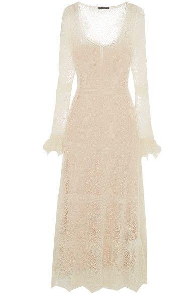 Cream Shetland wool-lace Slips on 100% wool; trim: 66% silk, 32% nylon, 2% elastane; lining: 100% viscose Dry clean Made in Italy