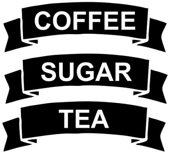 CRibbon Set Of Coffee/Tea/Sugar Vinyl Stickers/Labels For Storage Jars (BLACK)