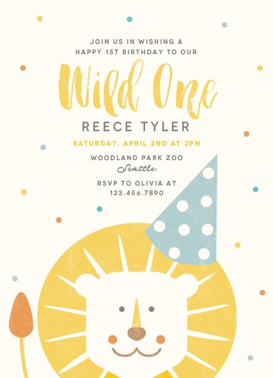 birthday party invitations - Wild One by Lisa Cersovsky