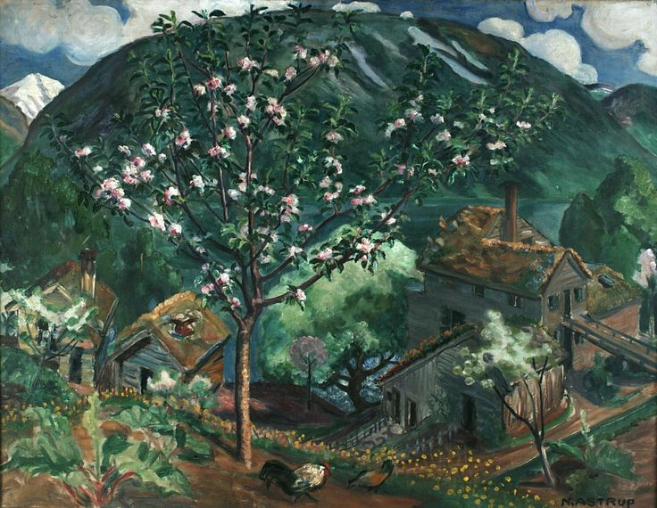 Apple Tree in Bloom by Nikolai Astrup, 1927. Astrup bought a cotter's farm at Sanddal in 1912 and continued making his art. Sanddal is an important area in Oleanna, and Astrup is mentioned in the novel as well.