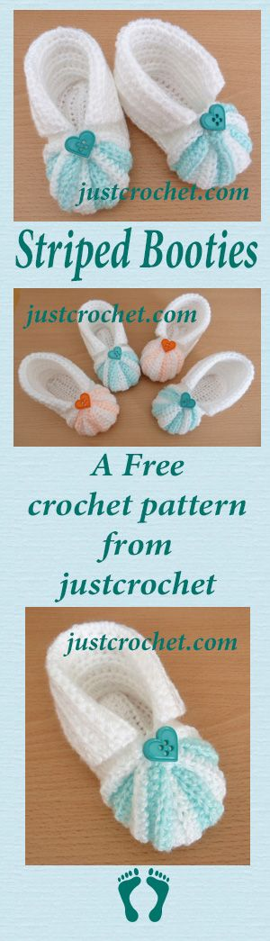 Free baby crochet pattern for striped booties.